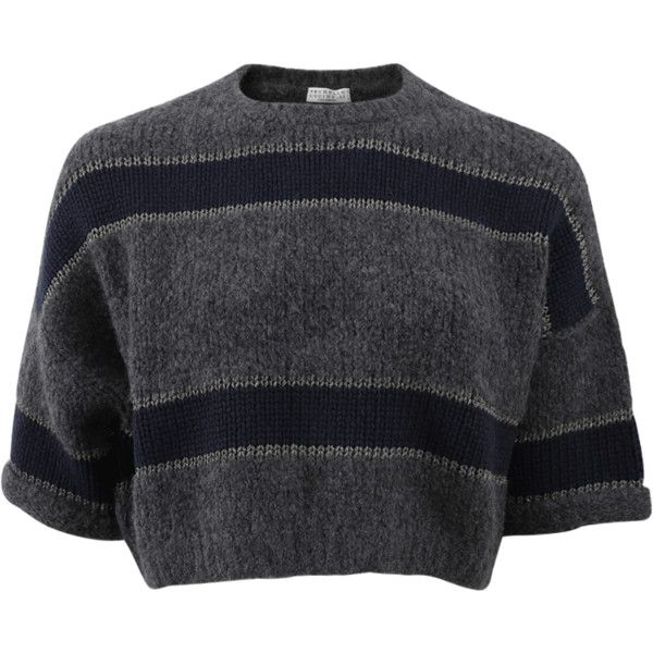 Brunello Cucinelli Wide Stripe Pullover Top (€1.385) ❤ liked on Polyvore featuring tops, shirts, crop tops, t-shirts, loose fitting tops, navy top, navy shirt, crop shirt and loose fitting crop top