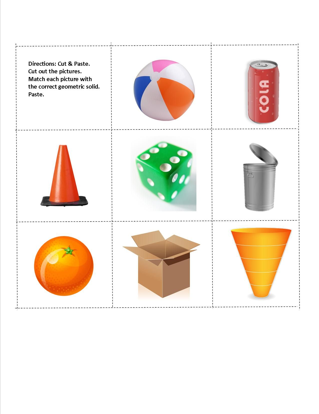 Geometric Solids Cut Amp Paste Worksheet See Other Page
