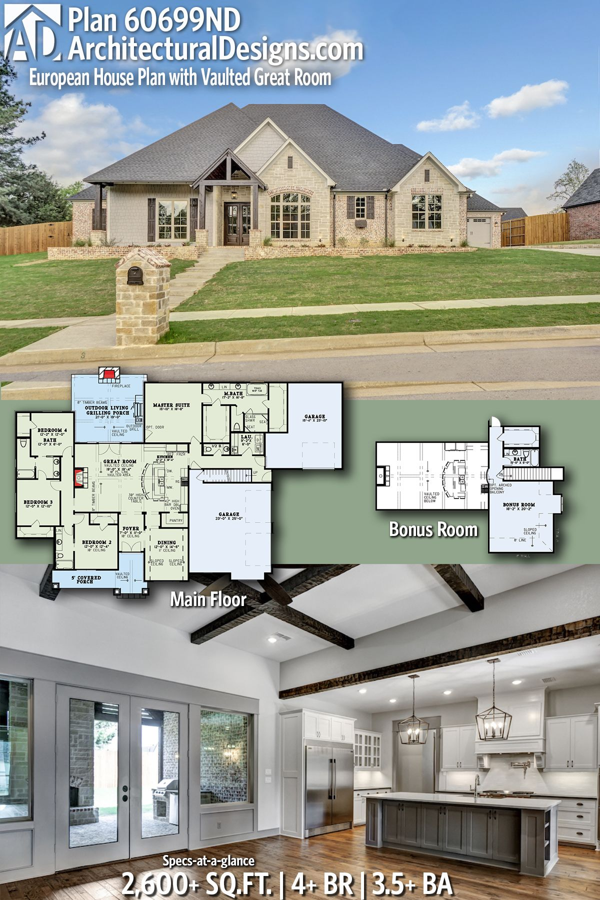Plan 60699nd European House Plan With Vaulted Great Room House Plans Dream House Plans European House
