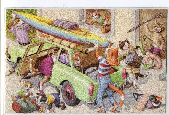 Image result for vintage illustrations of cats on vacation
