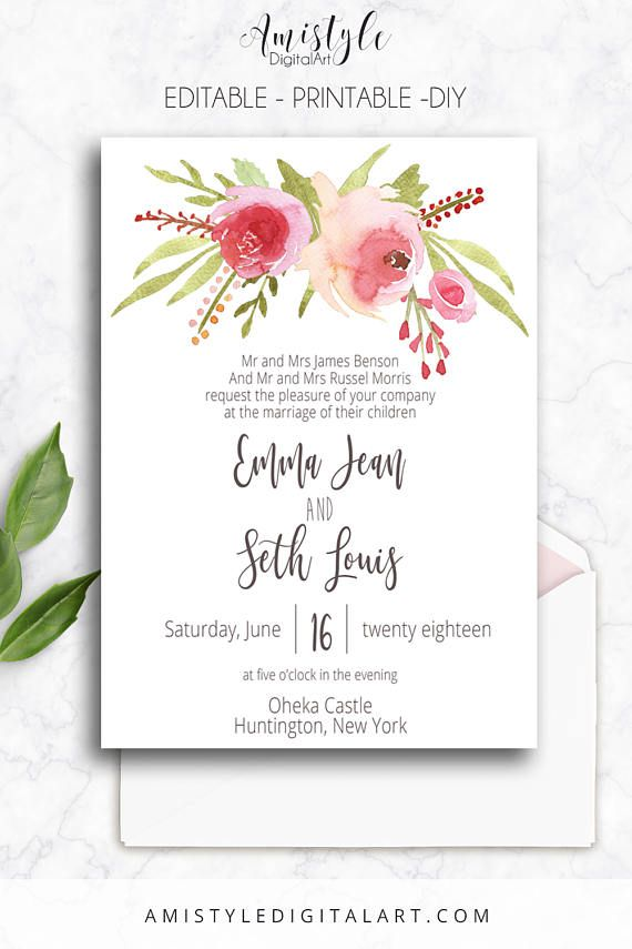 Printable Wedding Invitation Editable PDF Printable Instant