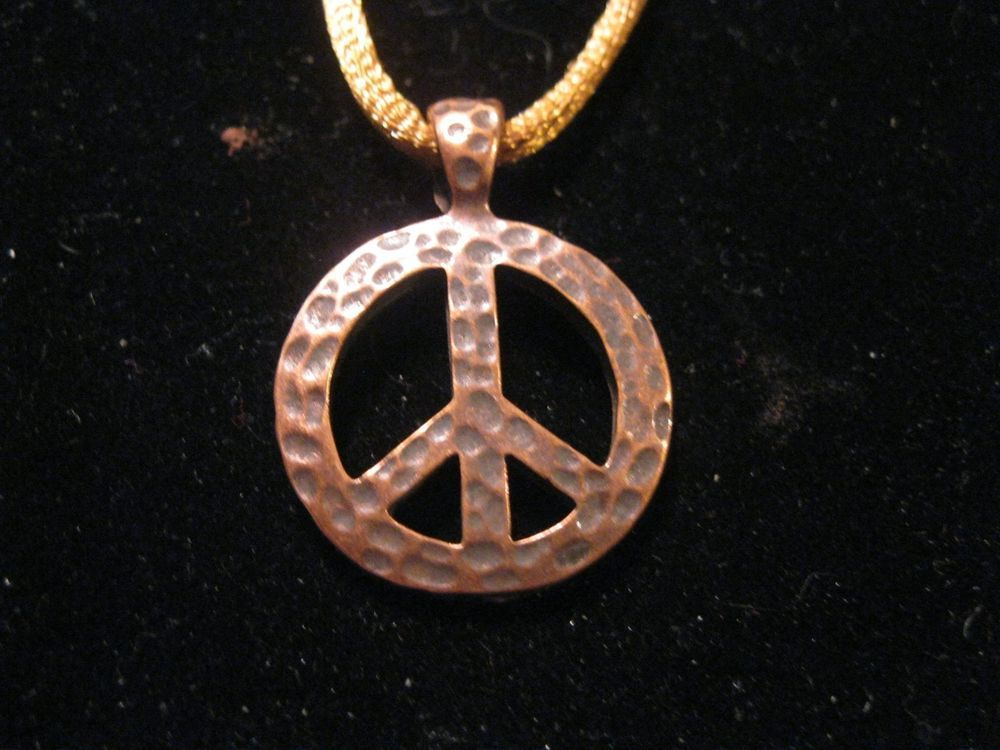 Antique Hammered Brass Peace Sign Pendant Necklace on Satin Cord #Pendant