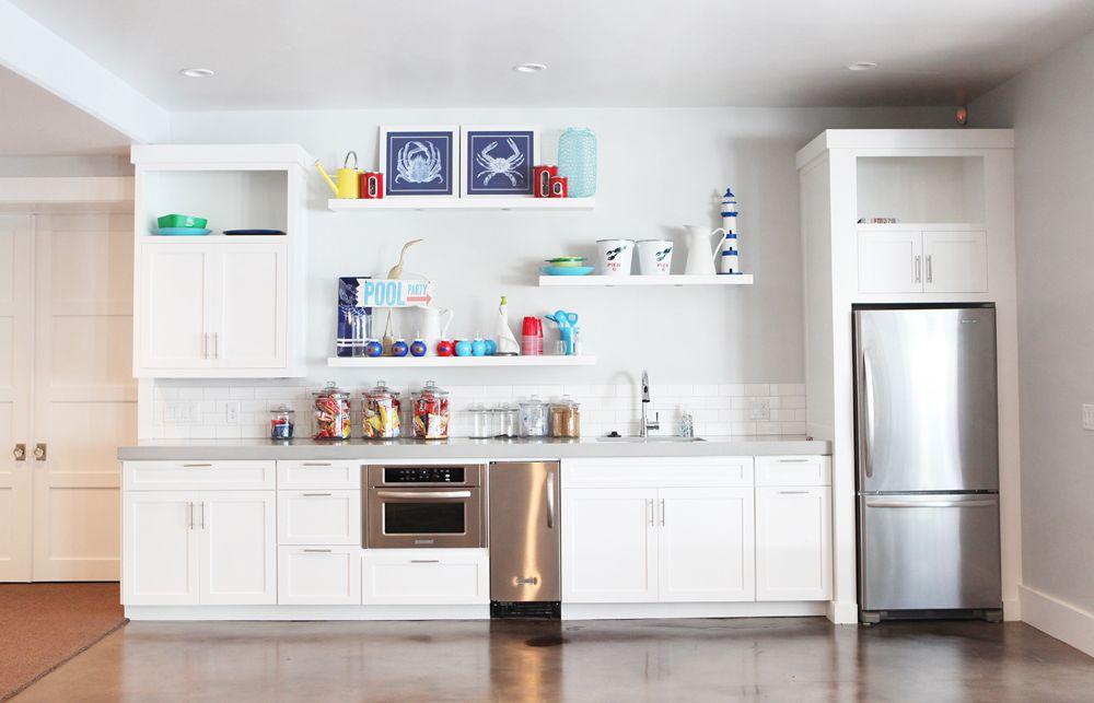 The Modern Sophisticate Berkshire Estate Basement Family Room Kitchen Floating Shelves Kitchen Kitchen Shelf Decor Basement Kitchen