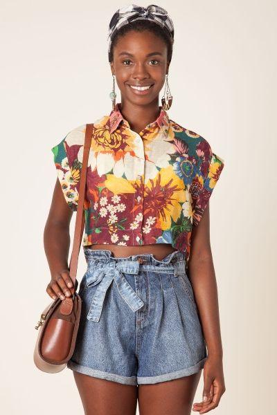 ede94805b short jeans soltinho cintura alta <3 Roupas Étnicas, Shorts Femininos,  Camisa Feminina,