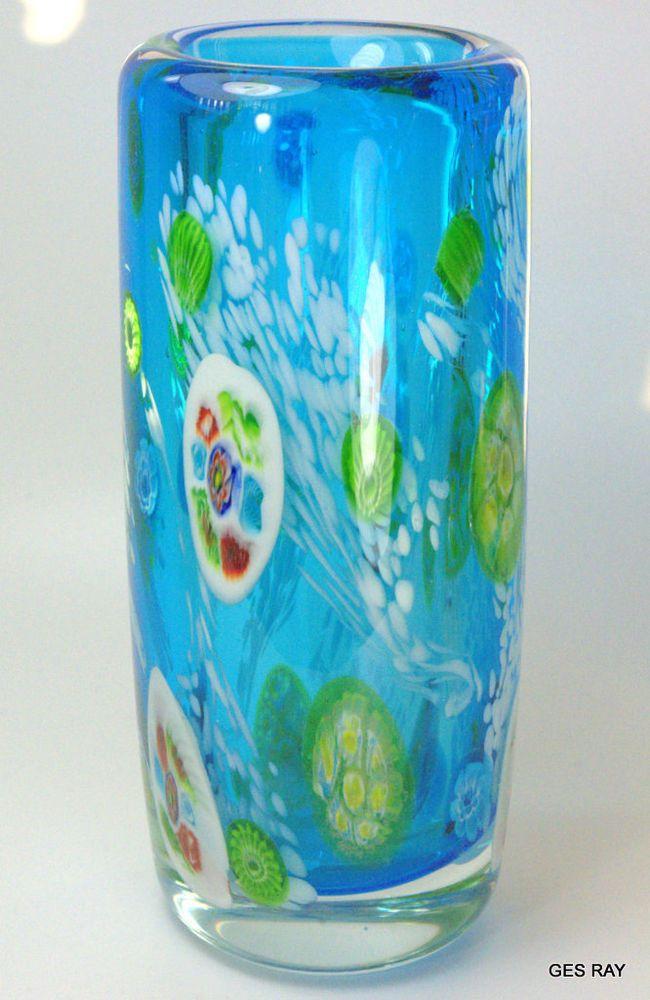 Vintage Murano Millefiori Art Glass Blue Style Heavy Vase Ebay