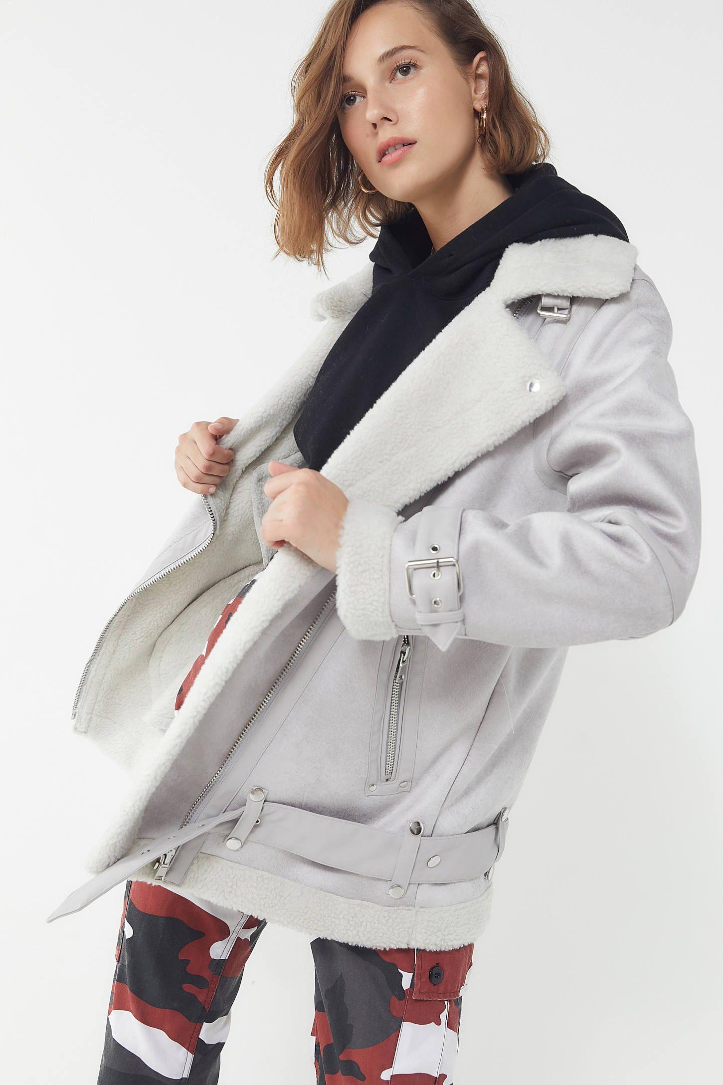 UO Oversized Faux Leather Aviator Jacket Aviator jackets