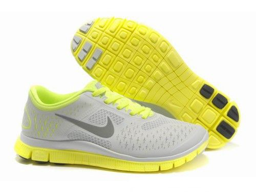 Women's Nike Free 4.0 V2 Running Shoes Light Grey/Yellow/Fluorescent Green -