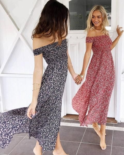 6b9a5363b7d5 High waist off shoulder maxi dress
