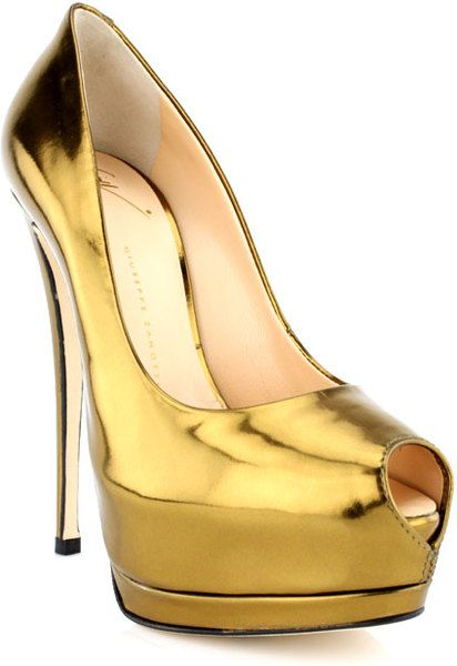 032095d4305e6 Giuseppe Zanotti - Gold Bronze Lame Sharon Peeptoe Pump - $227.00 - http://