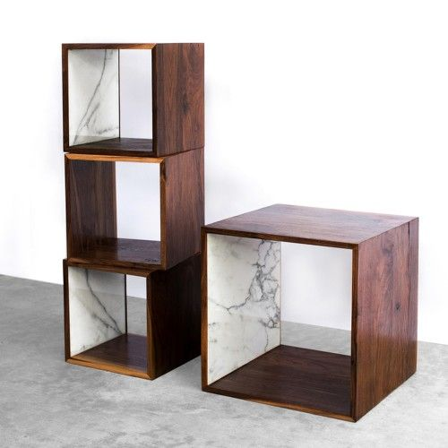 Perfect Walnut And Marble Storage Cube
