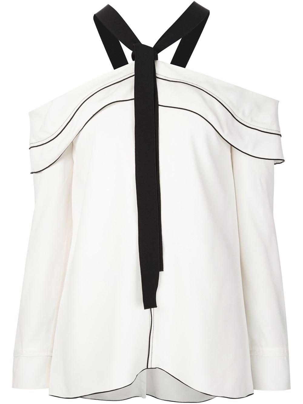 c21d502b47595 Proenza Schouler off shoulder bow blouse White Silk Blouse