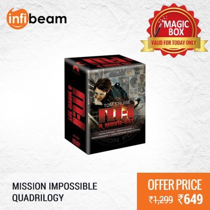 Mission Impossible Quadrilogy (4 Movie Box Set) (DVD) at Lowest Rate from Infibeam's MagicBox !  Assuring Lowest Price in Magic Box Deals !   HURRY OFFER VALID FOR TODAY ONLY !!  #MagicBox #Deals #DealOfTheDay #Offer #Discount #LowestRates #MissionImpossible #Quadrilogy #4Movie #BoxSet #DVD #Movies #Hollywood