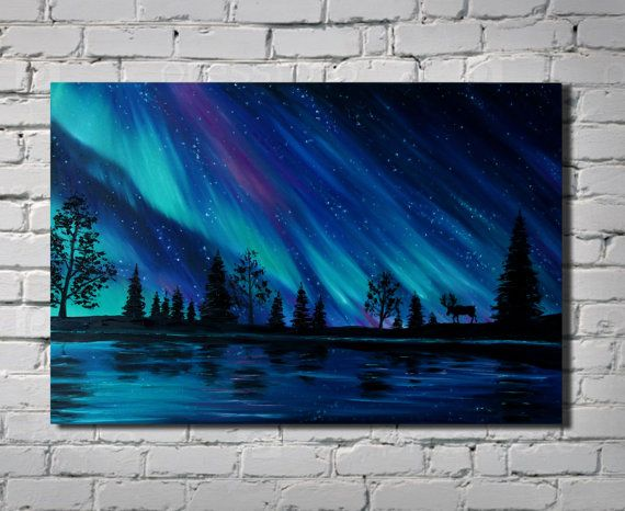 Navy Blue Wall Art Northern Lights Painting Celestial Watercolor