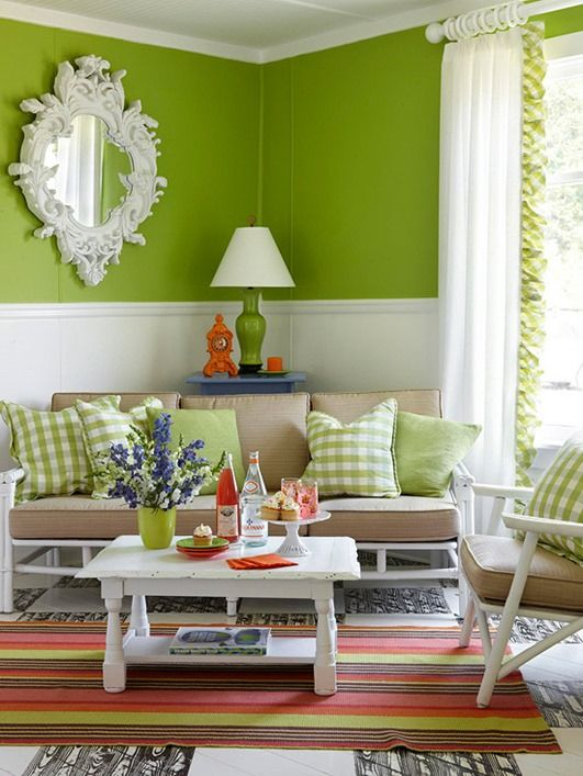 Decorating With A Green Walls And Tan Sofa If I Were Only Allowed One