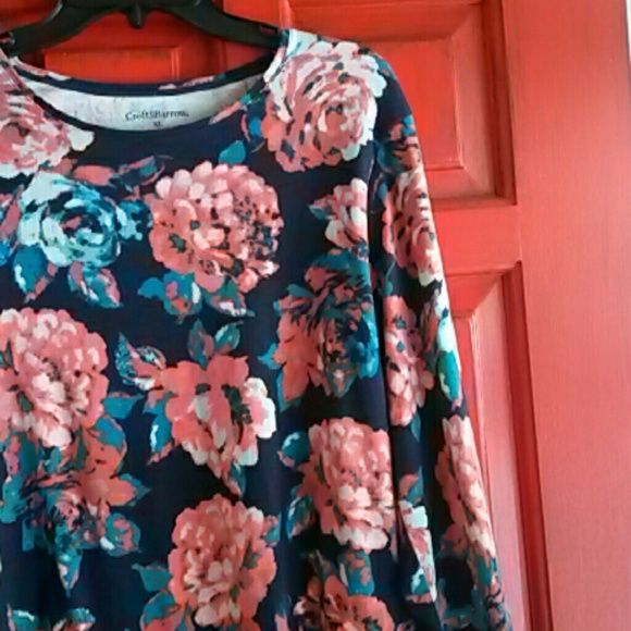 Blue floral long sleeve shirt Baby blue and coral pink roses adorning a Navy blue background. 100% cotton **make an offer** Croft & Barrow Tops Tees - Long Sleeve