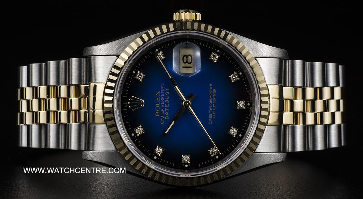 Rolex 18k S G Blue Diamond Dial Datejust Gents B P 16233 Blue Diamond Rolex Diamond