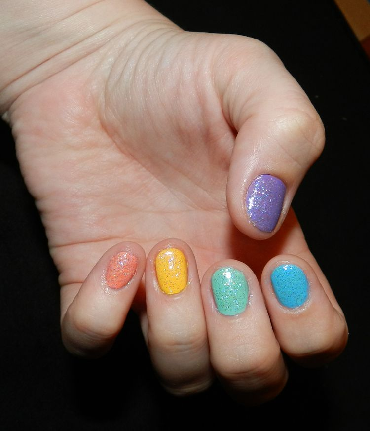 Rainbow Rock Candy Nails | Nails by Santineao | Pinterest | Rainbow ...