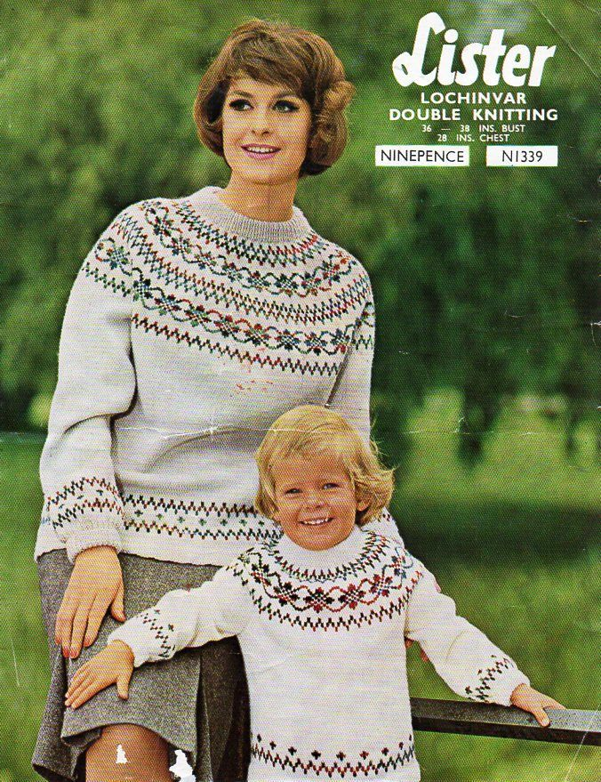 womens childrens fair isle sweater knitting pattern pdf ladies ...