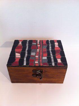 Boîte rose - 14cm x 11 cm - VENDU - mosaïque