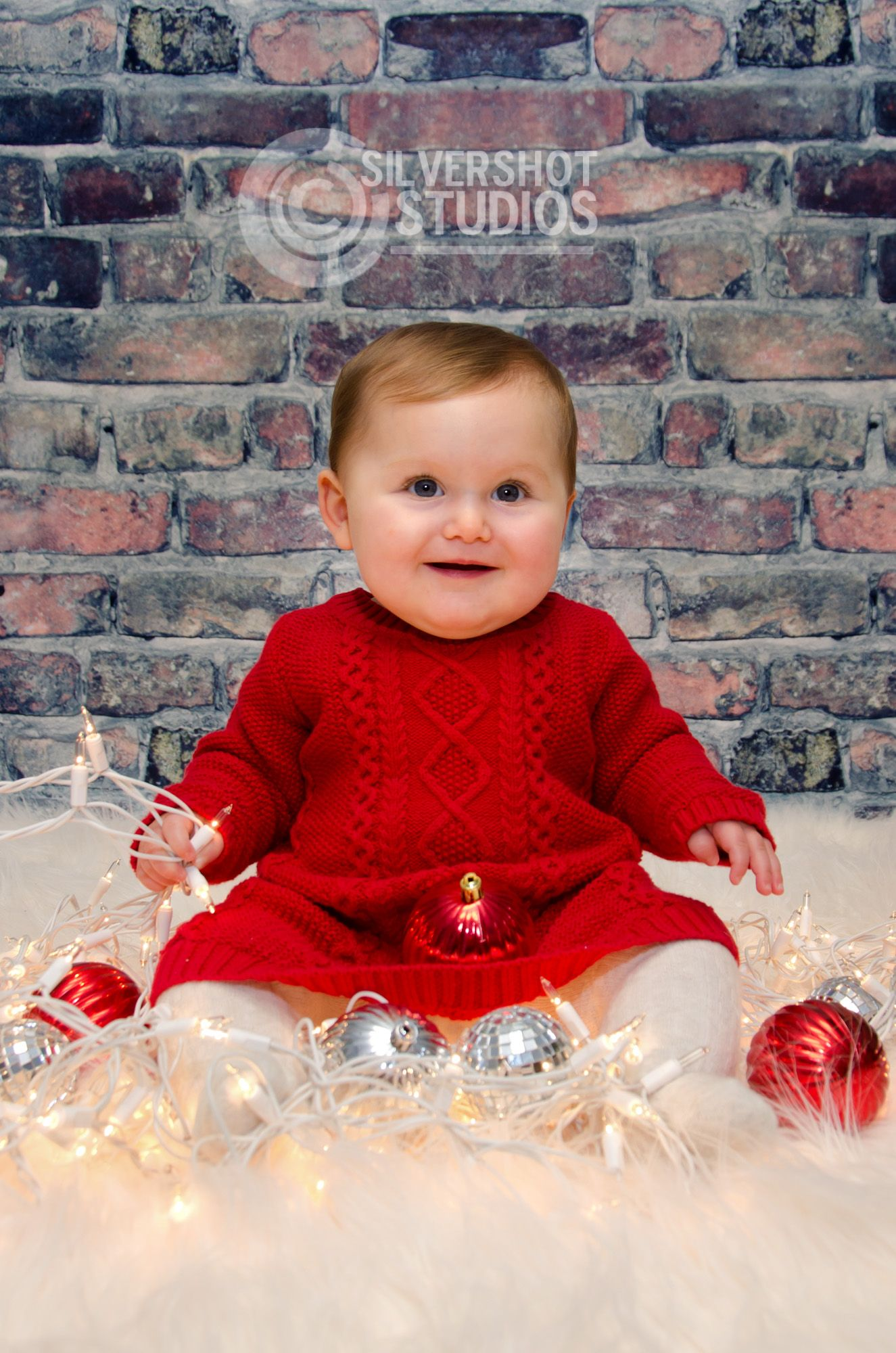 Baby Girl Red Dress Sweater Christmas Lights Ornaments Fur