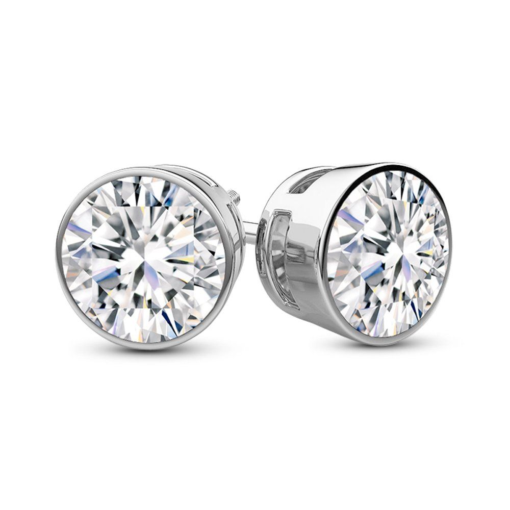 1 2 0 5 Carat Total Weight White Round Diamond Solitaire Stud Earrings Pair Set Diamond Earrings Studs Round Diamond Earrings Studs Diamond Solitaire Earrings
