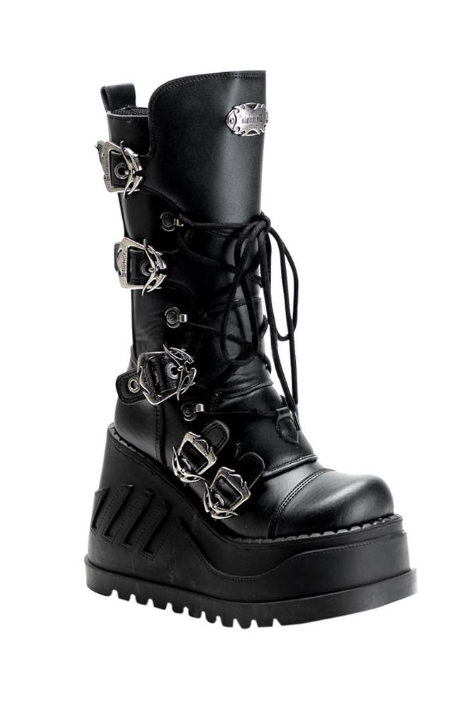902191c476b Demonia - Stomp 101 Boot Black PU Calf boot 5 ornate buckle straps Lace-up  front Side zipper Metal Demonia logo 4.75