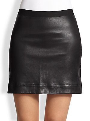 8df85e7ca Helmut Lang Talc Suede-Waist Leather Mini Skirt | Lucious Leather ...