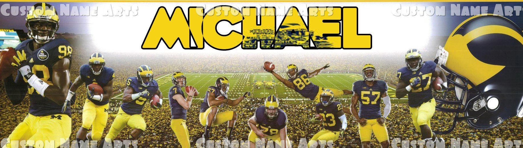 Personalized Michigan Wolverines Football Banner Birthday Poster ...