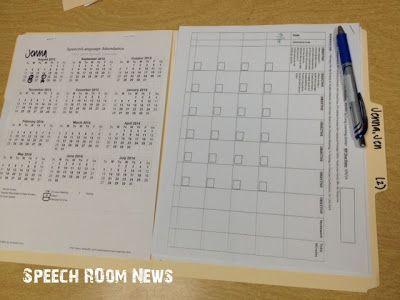 SLP 101 Working Folders (Speech Room News) Data sheets, Speech - attendance sheet for students