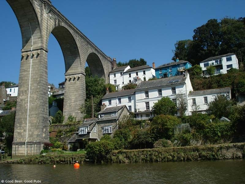 Calstock, Cornwall - the town and the viaduct from the river