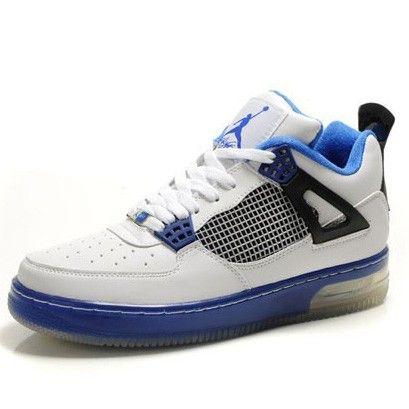 Acheter Nike Air Jordan Force Fusion 4 (IV) - Blanc Noir Bleu Marine - Homme Chaussures Pour Pas Cher