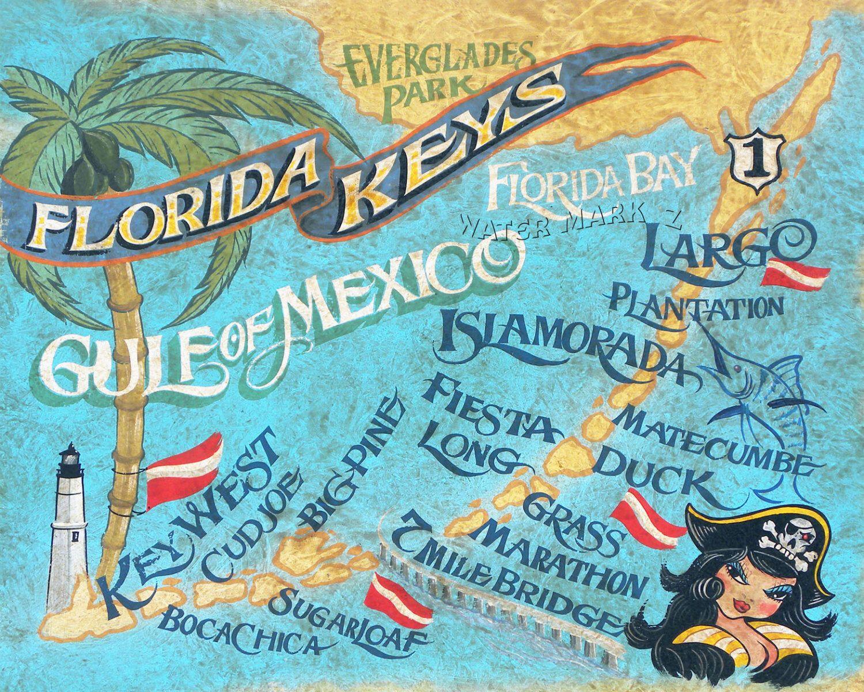 Key West Retro Beach Style Map Printflorida Art - Florida keys map art