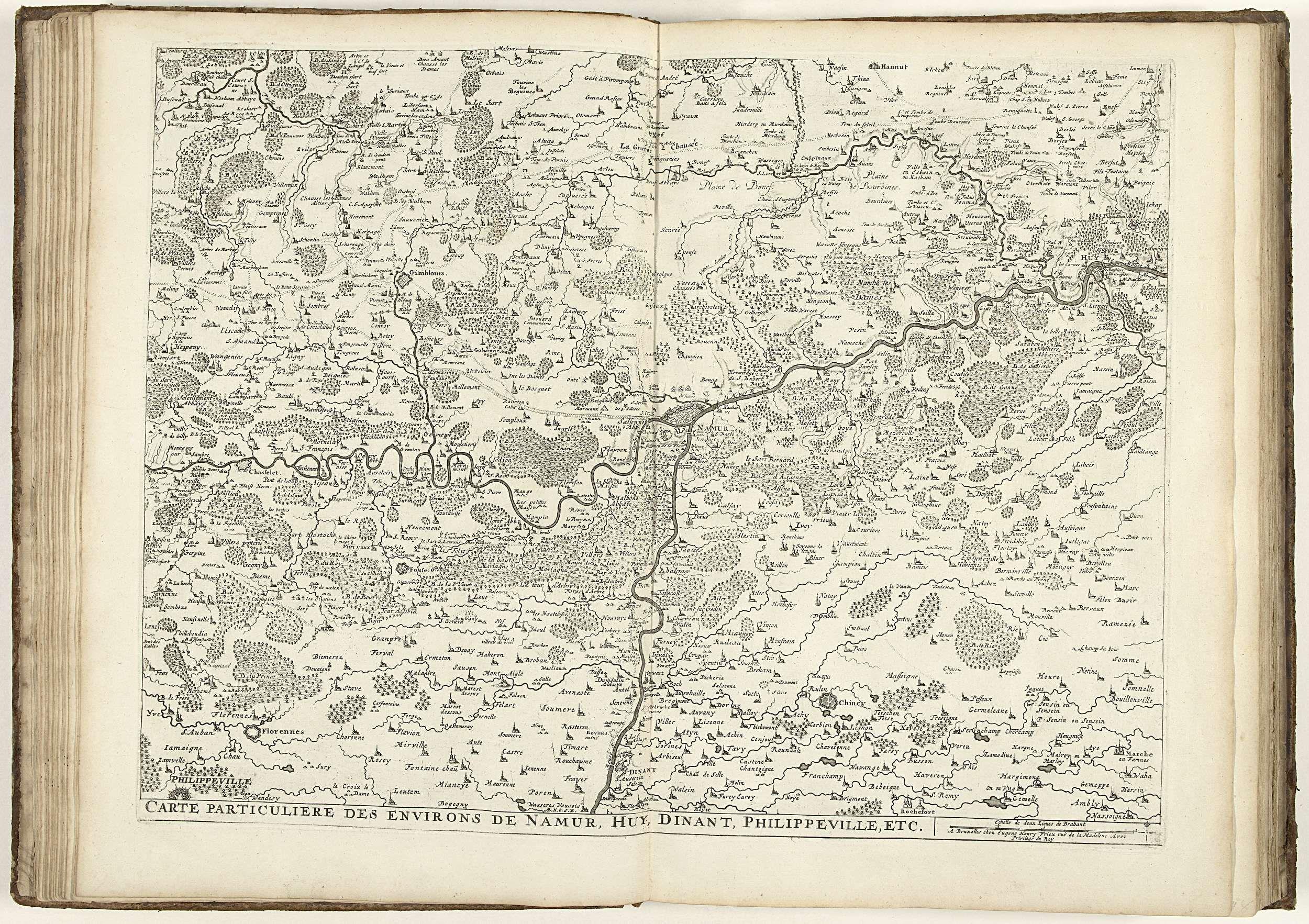 Eugene Henry Fricx | Kaart van de provincie Namen, ca. 1706-1712, Eugene Henry Fricx, unknown, 1706 - 1712 | Kaart van de provincie Namen met de steden Namen, Huy, Dinant en Philippeville, ca. 1706-1712. Onderdeel van een gebundelde verzameling van plannen van veldslagen en steden vermaard in de Spaanse Successieoorlog. Deze plaat behoort tot de eerste 24 platen die samen een zeer grote kaart van de Zuidelijke Nederlanden vormen.