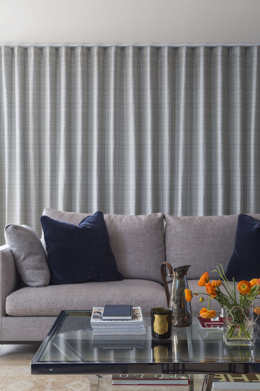 Light Grey Sofa Silent Gliss Curtains Dark Blue Cushions Glass Coffee Table London Apartment Done By L Works Www Lw Blue Sofa Gray Sofa Light Gray Sofas