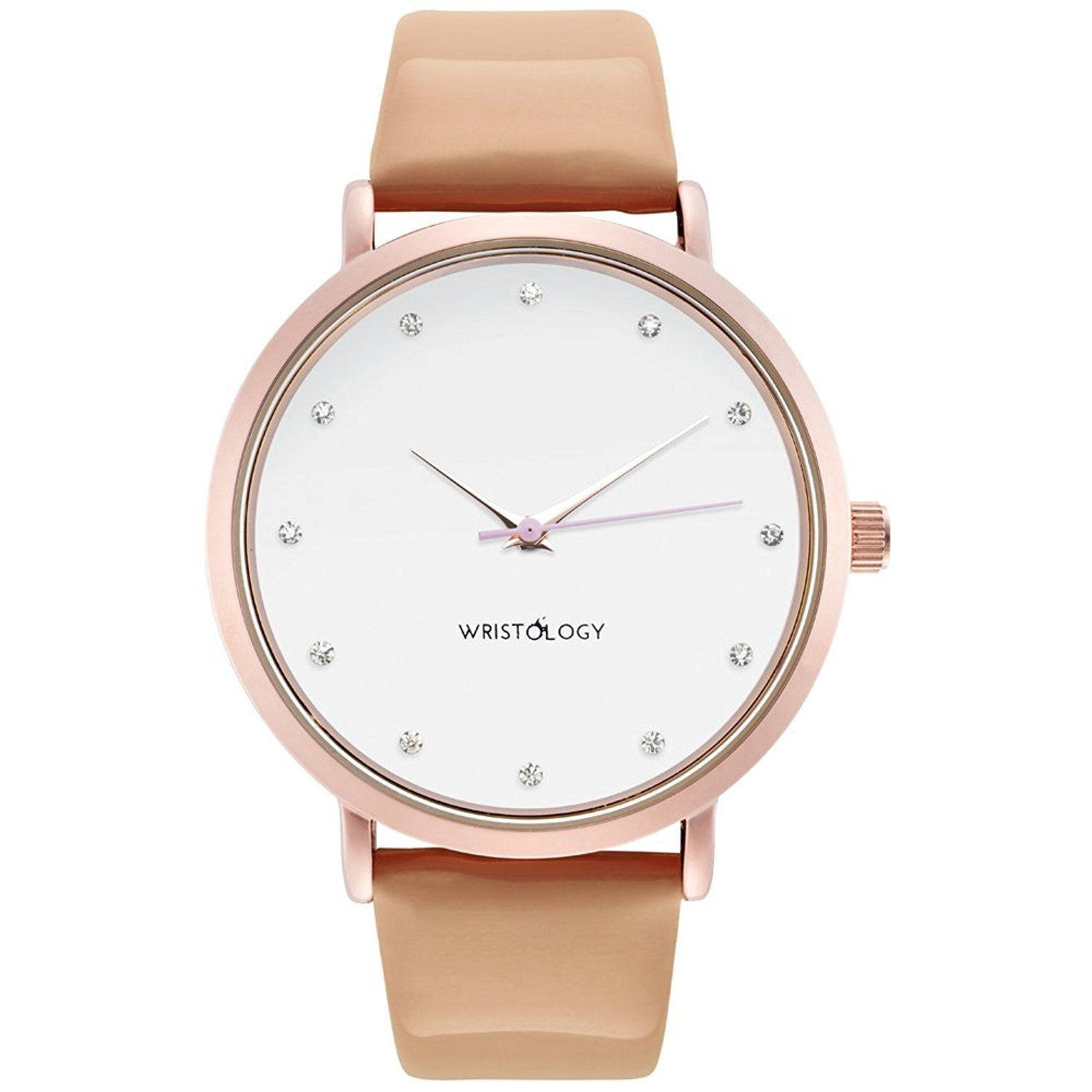 WRISTOLOGY Olivia Womens Crystal Rose Gold Boyfriend Watch Tan Sand Patent  Leather Strap     Unbelievable item right here! dac362bf9