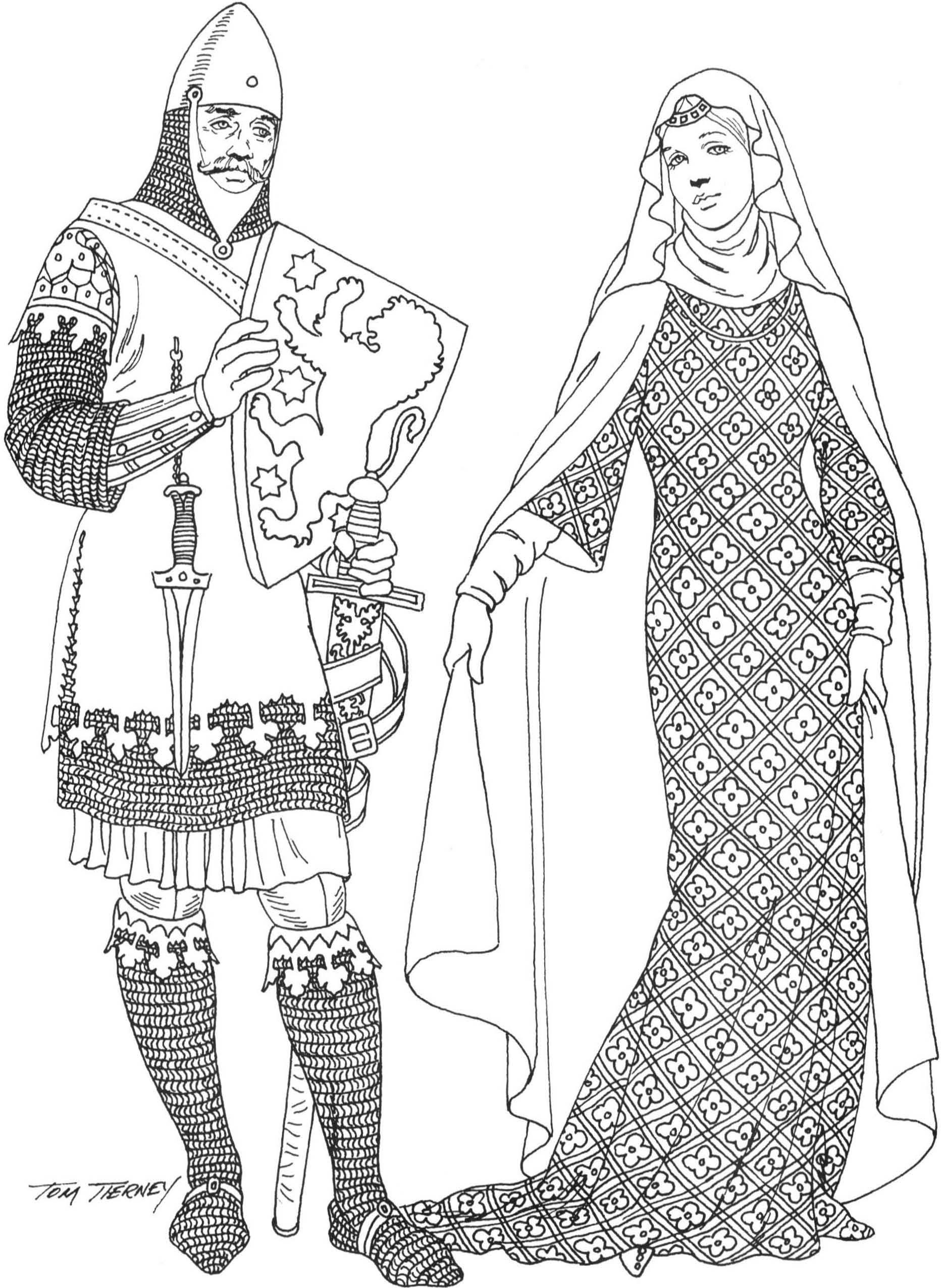 Englishmen Left: crusader knight wears chain mail hood
