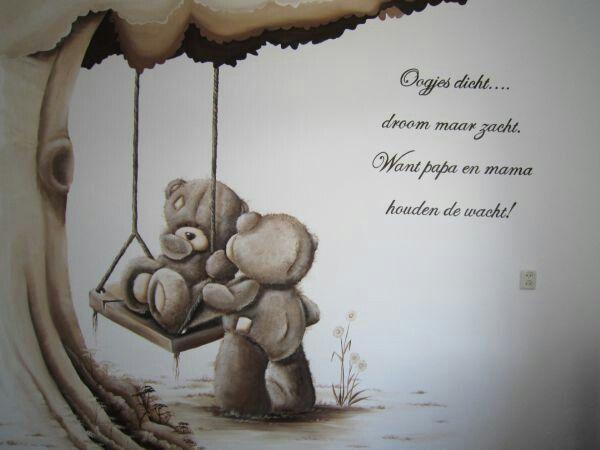 Kinderkamer beschildering me to you beertje muurschildering muurschi deringen pinterest - Kwekerij verf ...