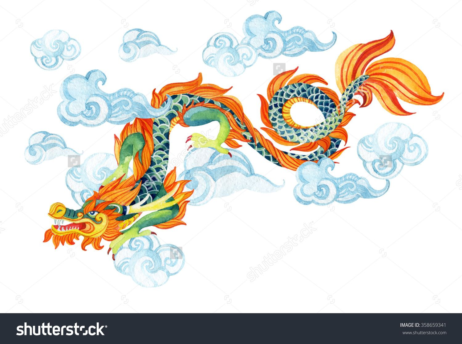 Stock photo chinese dragon traditional symbol of dragon watercolor traditional symbol of dragon watercolor hand painted illustration buy this stock illustration on shutterstock find other images biocorpaavc