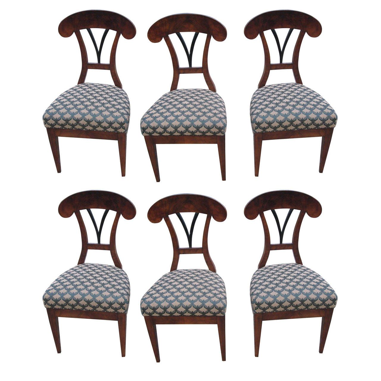 Rare Set of Six Biedermeier, 19th Century Austrian Side Chairs | From a unique collection of antique and modern side chairs at https://www.1stdibs.com/furniture/seating/side-chairs/