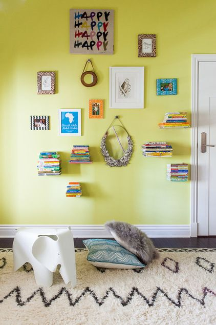 "Invisible"" book shelves. attach a bracket to a hardback book. When ..."
