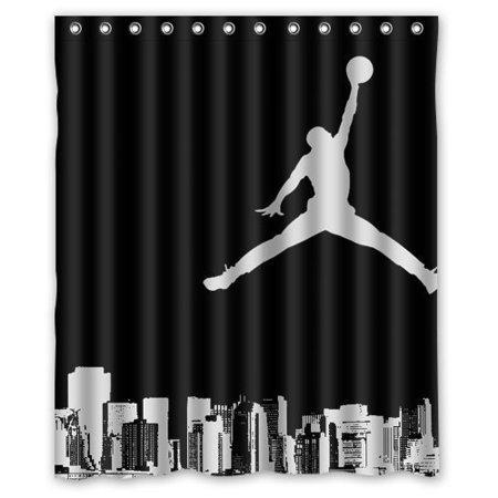 Black White Basketball Sport Air Jordan Shower Curtain Bathroom Decor