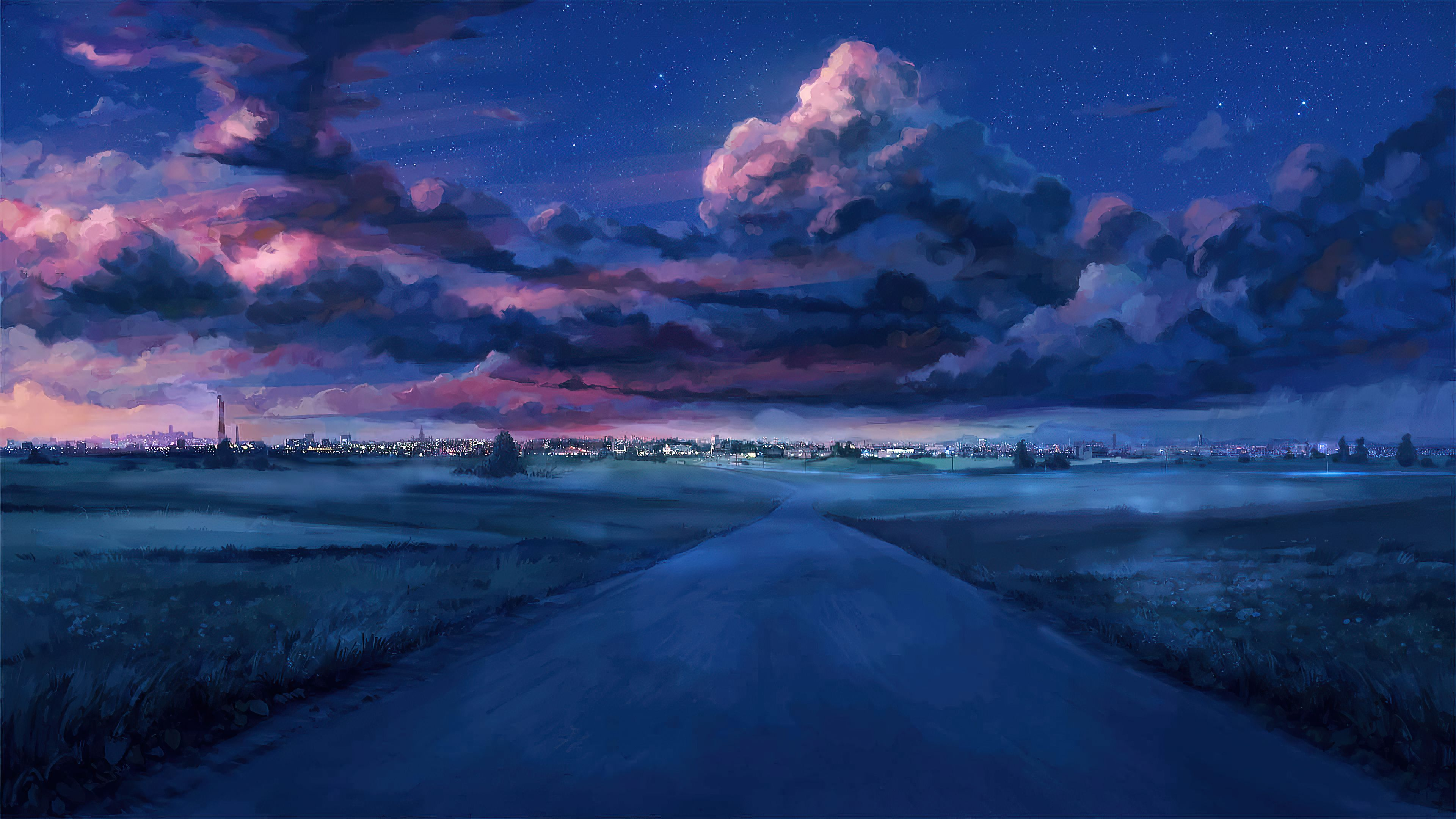 Anime Road To City Everlasting Summer Night Scenery Scenery Background Night Landscape