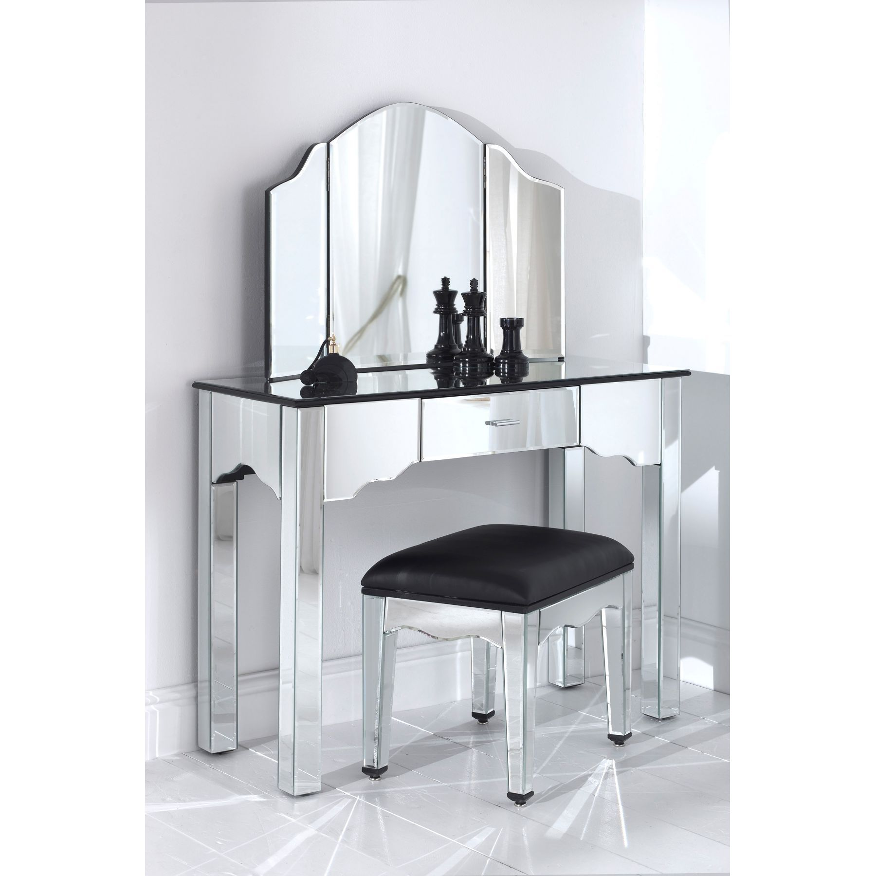 Crafted From Natural Wood And Glass, This Stunning Romano Mirrored Dressing  Table Set Great Feature For Your Bedroom