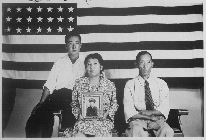 The Hirano family, Colorado Relocation Center, Poston, Arizona, 1942 - 1945, public domain via Wikimedia Commons.