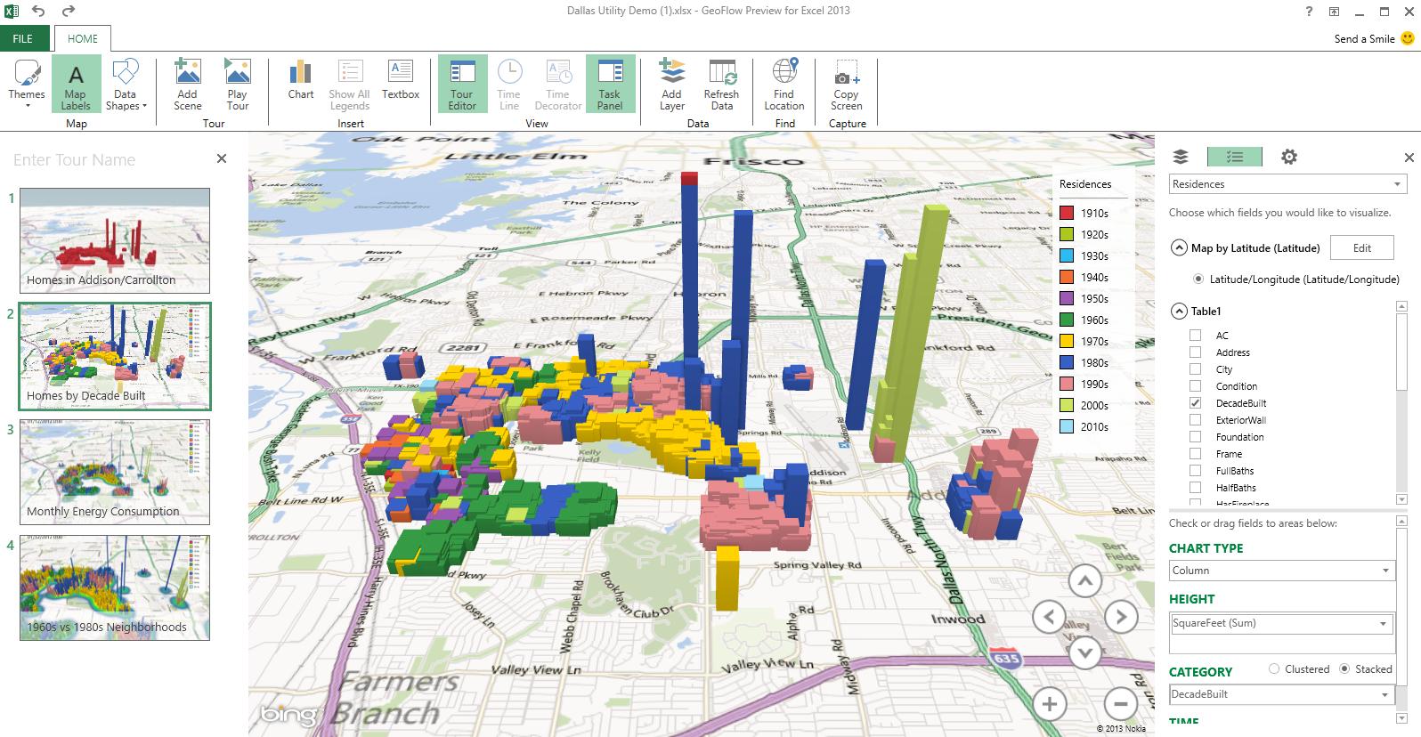 3d Data Visualization Using Powermap For Excel Visualizacion De Datos Planos