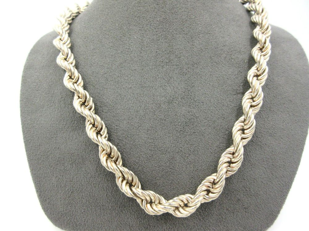 Vintage Massive Huge 10mm Sterling Silver 925 Rope Chain Necklace 20 Necklace Find Jewelry Chain Necklace