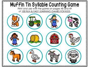 graphic relating to Syllable Games Printable called Muffin Tin Syllable Sport Printables farm Mastering video games