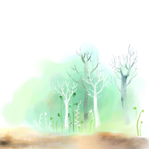 Hand Drawn Watercolor Tree Psd Background Backgrounds Psd File