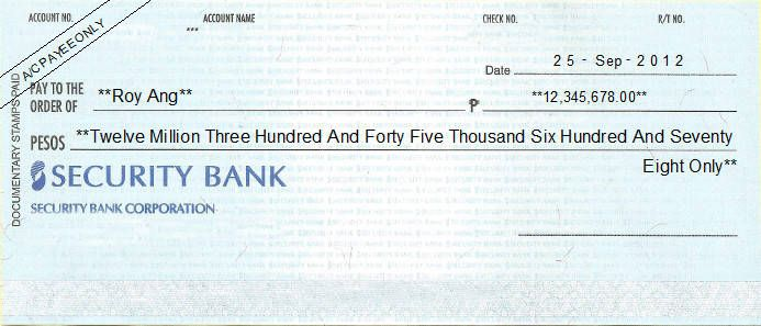 Printed Cheque Of Security Bank Personal Philippines Printing Software Free Checking Philippines