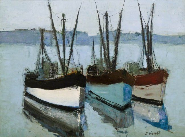 Lot 314- Jacques Voyet (1927-2010 French) ''Les Bateaux'' Oil on Canvas 23.25''x30.5'' Image. A colorful modernist oil of three boats. Signed l.r. with title label on verso. Total framed size 30.5''x38.75''. Purchased Frost & Reed Ltd., London 1966 with original sales receipt.